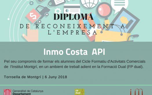 Diploma empreses InmoCosta Generalitat de Catalunya Ensenyament Ajuntament Torroella de MOntgri e Institut Torroella