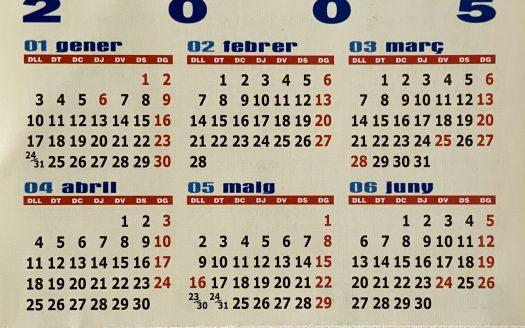 Primer calendari Inmocosta API L'Estartit-L'Escala tríptic de butxaca 2005-2006