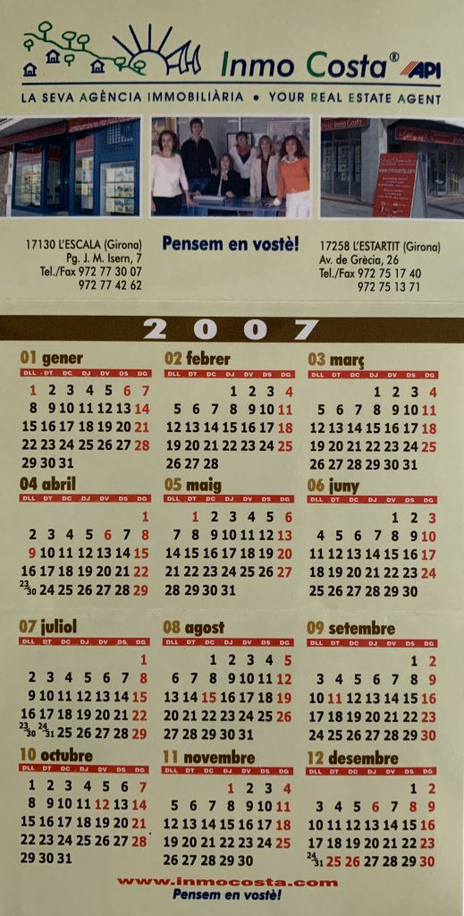 Segon calendari Inmocosta API L'Estartit-L'Escala tríptic de butxaca 2006-2007