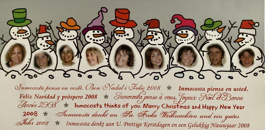 Inmocosta API felicitacio nadal 2007  d'esquerra a dreta: Núria Julià, Núria Ramirez, Encarni Ruiz, LLuisa Carrión, Eva Ruiz, Eva Navarrete, Renate Hutter, Marc Vilardebó , Mar Sabrià